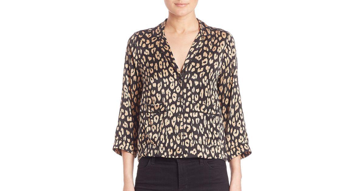 Lyst - Equipment Kate Moss For Lake Leopard-print Silk Pajama Top in Black 5c1c350e4