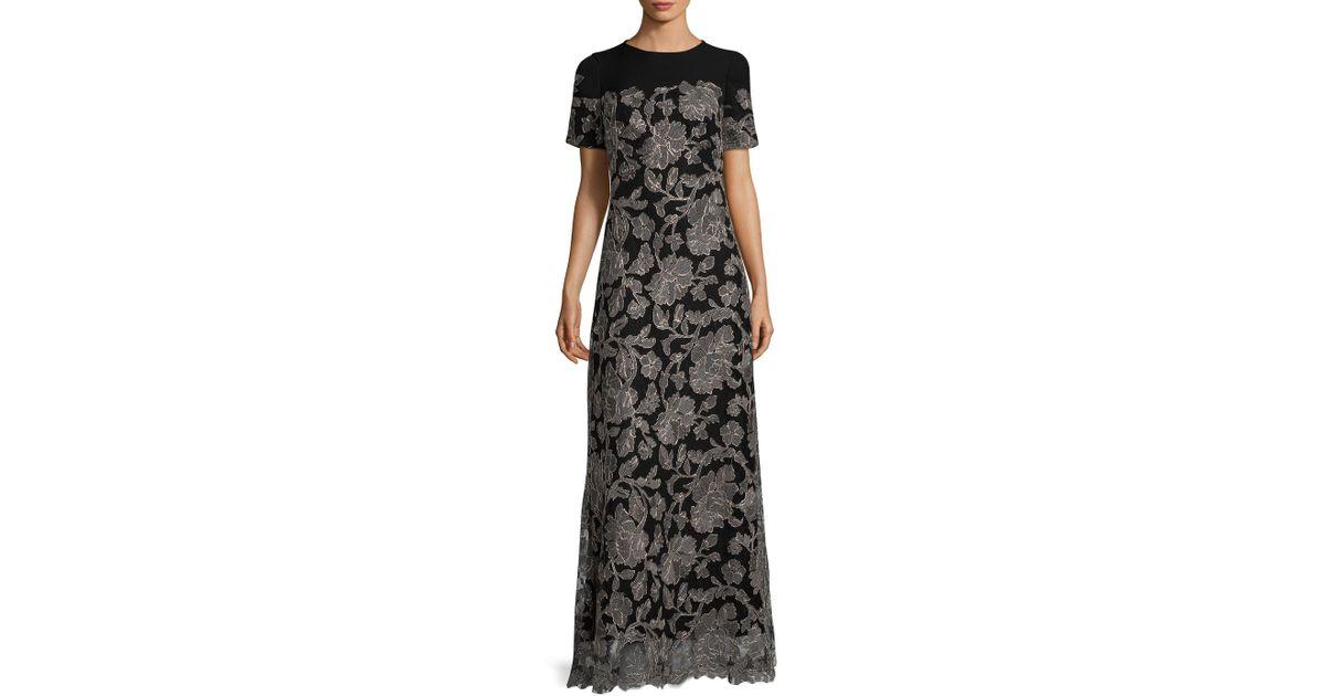 Lyst - Tadashi Shoji Sabi Embroidered Lace Gown in Black