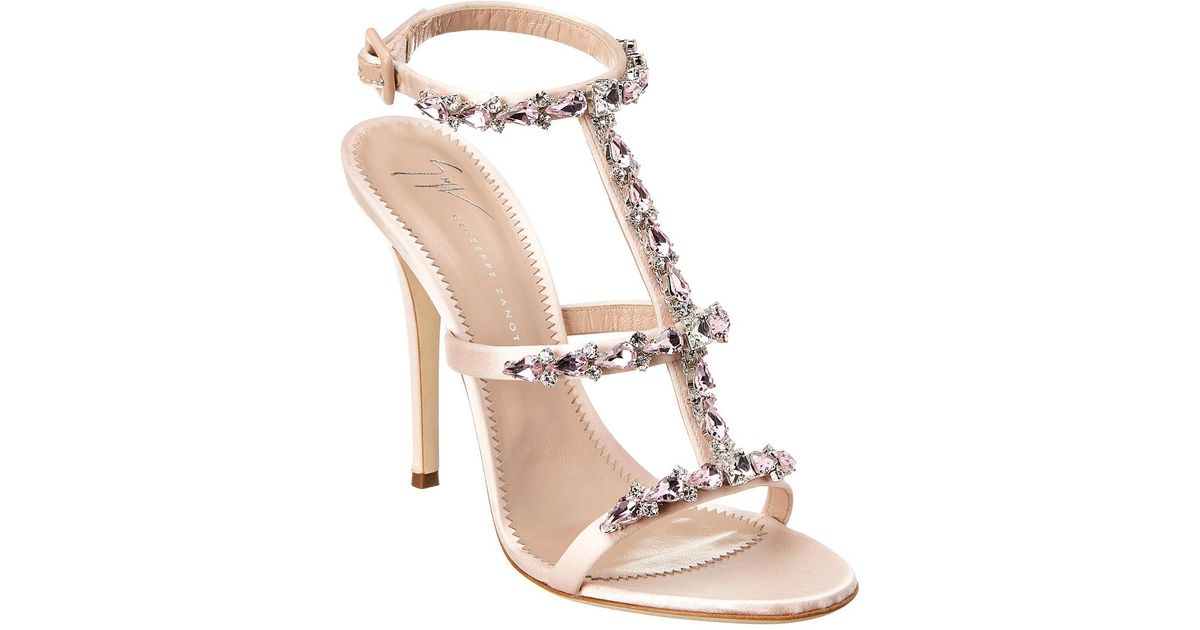 86fa074dc06db Lyst - Giuseppe Zanotti Alien Embellished T-strap Satin Sandal in Pink -  Save 10%