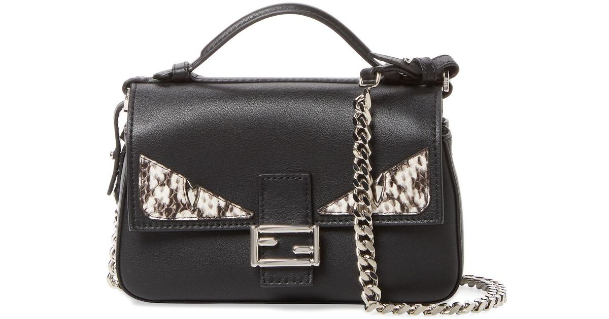 123129050d0a Lyst - Fendi Monster Leather   Snakeskin Double Micro Baguette in Black