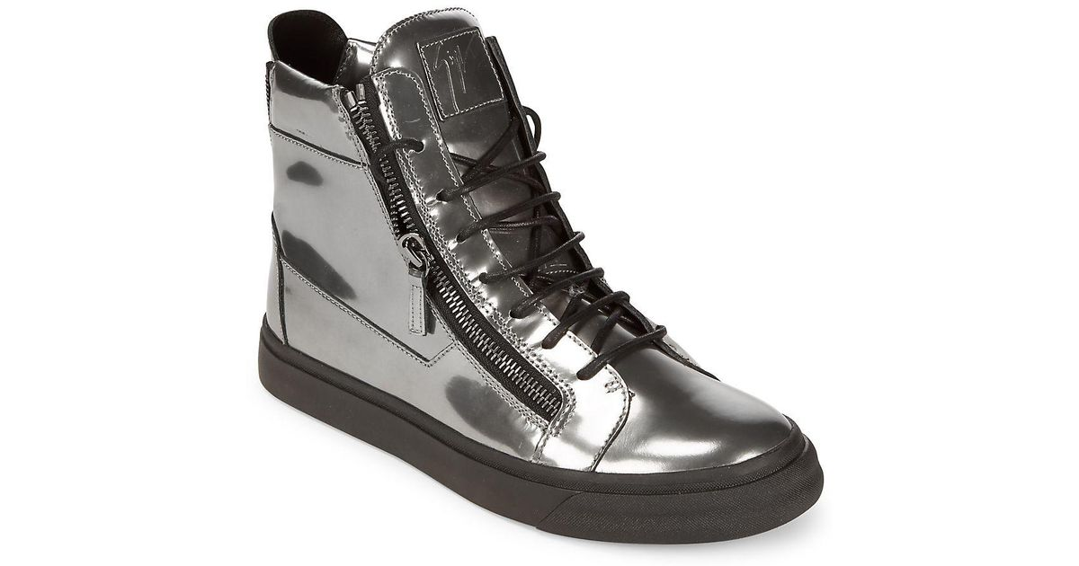 3307b506cb3 Lyst - Giuseppe Zanotti Embossed Leather Two Zip High-top Sneakers in  Metallic