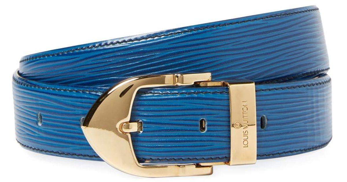 a41c36c89645 Lyst - Louis Vuitton Vintage Blu Epi Ab Ceinture Classic Belt in Blue