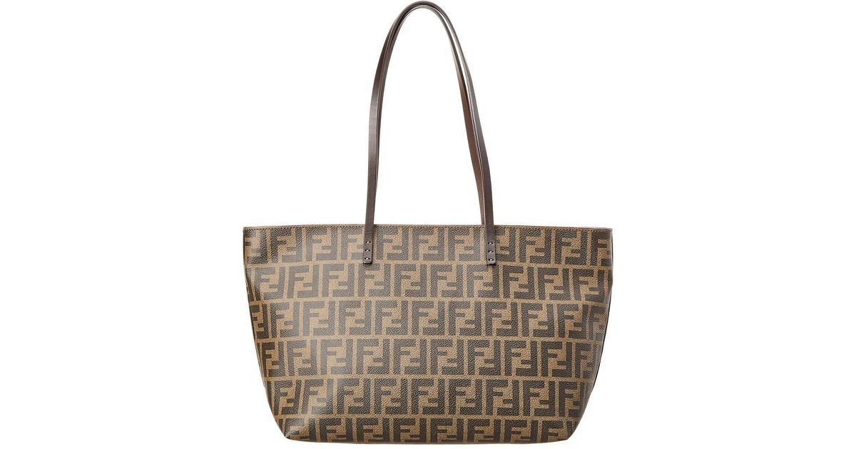 c69ab3936a Lyst - Fendi Brown Coated Monogram Canvas Roll Tote in Brown
