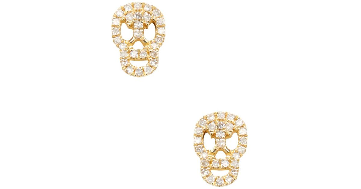 Lyst Cr By Casa Reale 14k Yellow Gold 0 12 Total Ct Diamond Skull Stud Earrings In Metallic