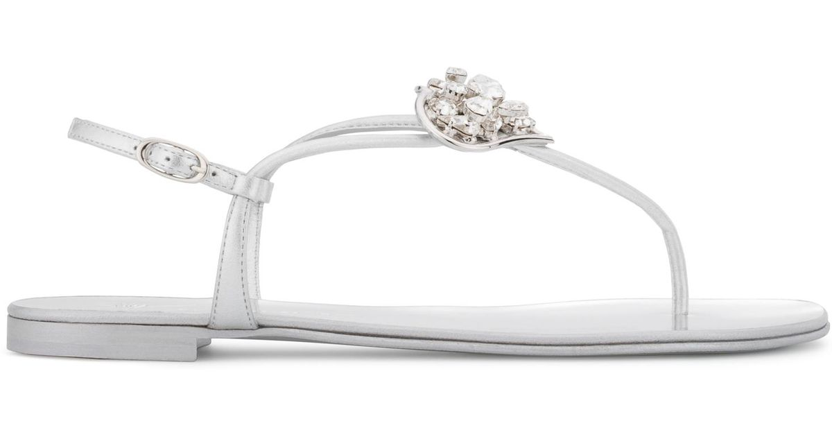 Giuseppe Zanotti Mirrored flat sandal with heart accessory HOLLIE HEART