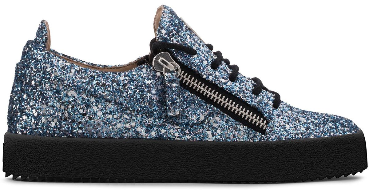 c516b754ba37d Giuseppe Zanotti Women's Gail Glitter Low Top Sneakers Blue Glitter in Blue  - Lyst