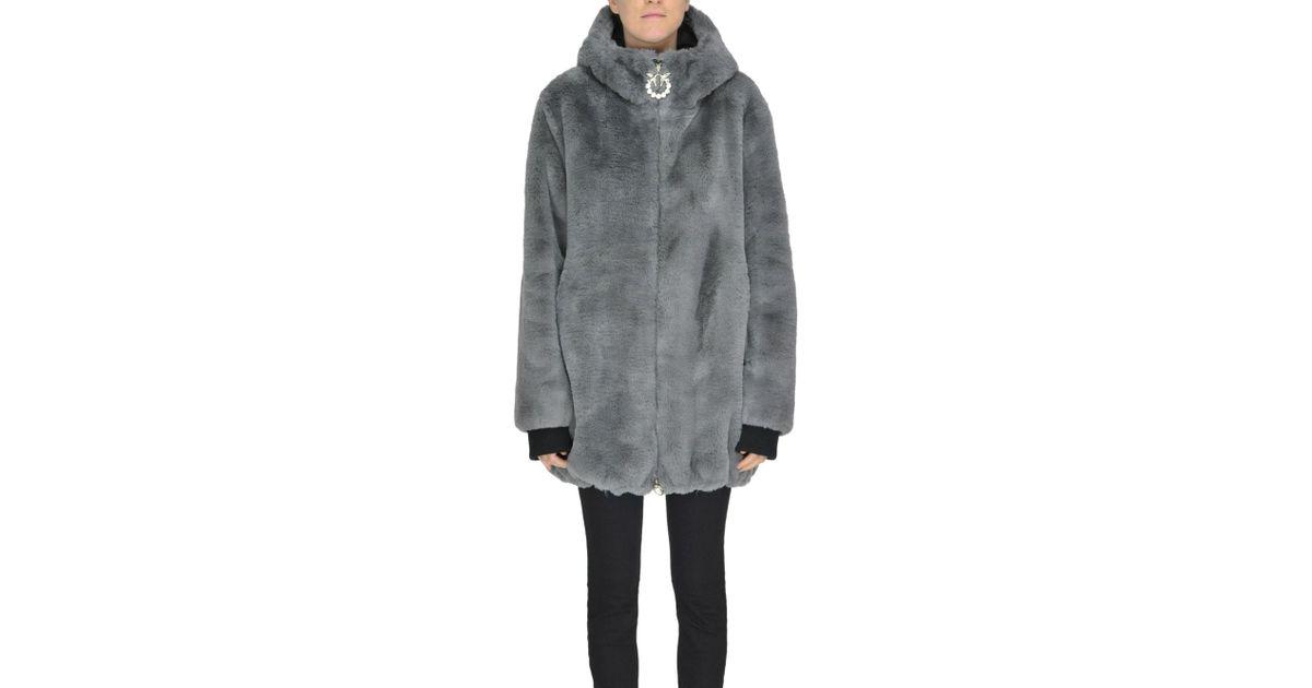 Lyst - Pinko Chirone Eco-fur Coat in Gray 54a7e0f086a