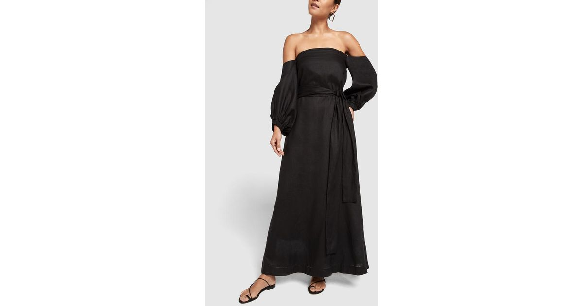 529e883920 Lyst - Lisa Marie Fernandez Rosie Linen Bubble-sleeve Dress in Black