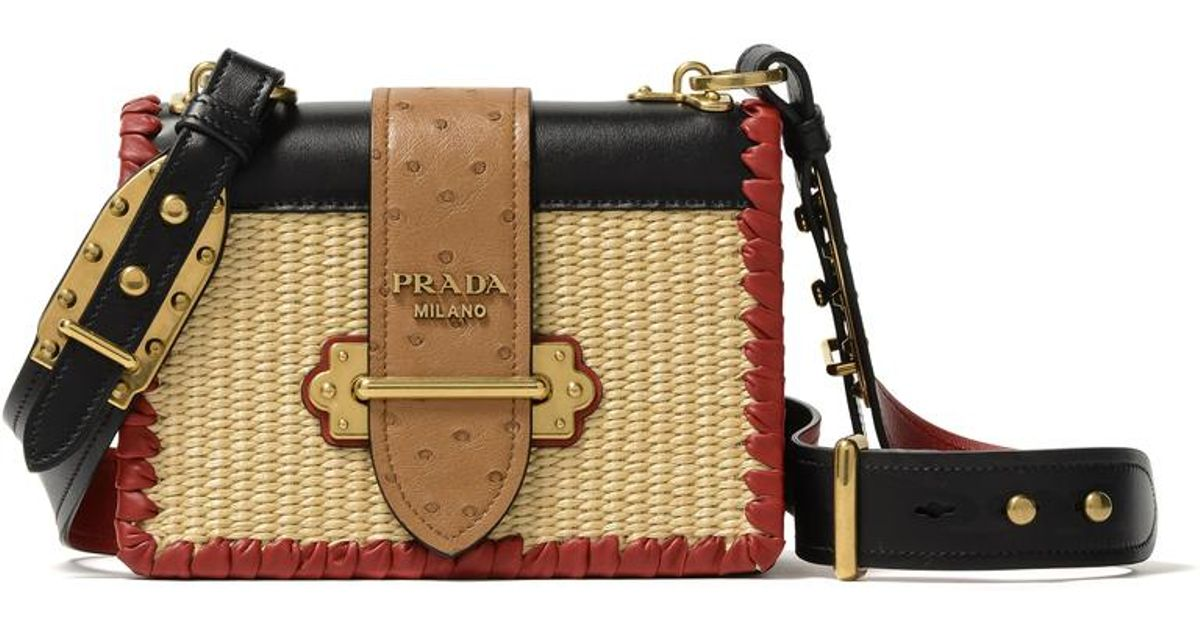 7714a3b97eb1 Prada Straw Handbag in Natural - Lyst