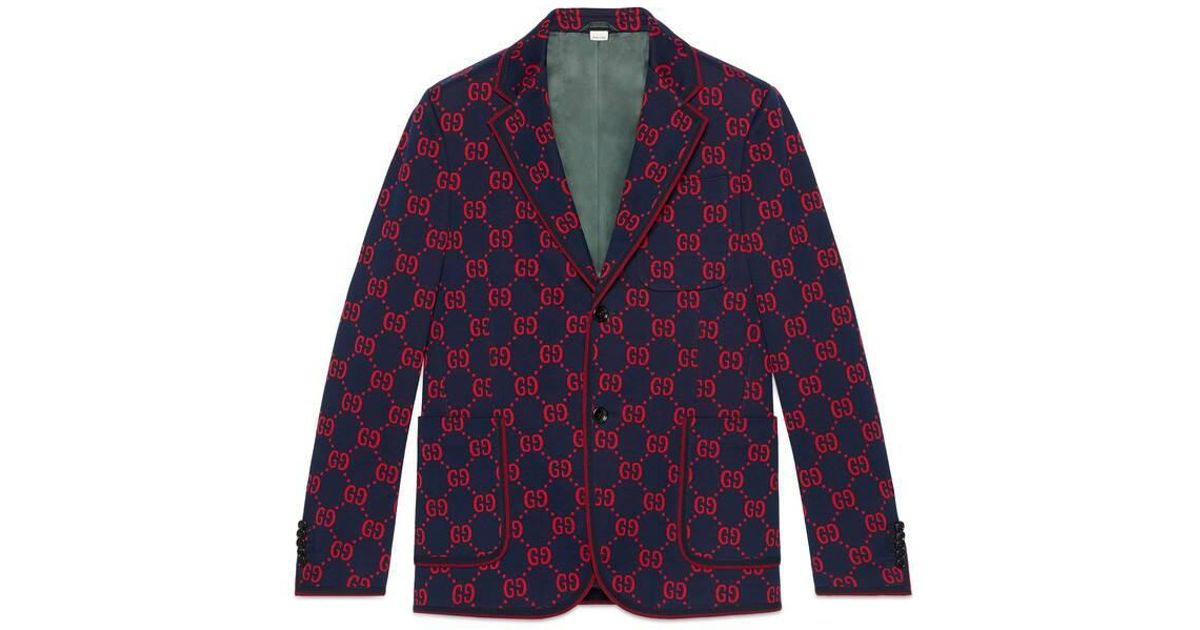 6262c2212 Gucci GG Jersey Formal Jacket in Blue for Men - Lyst