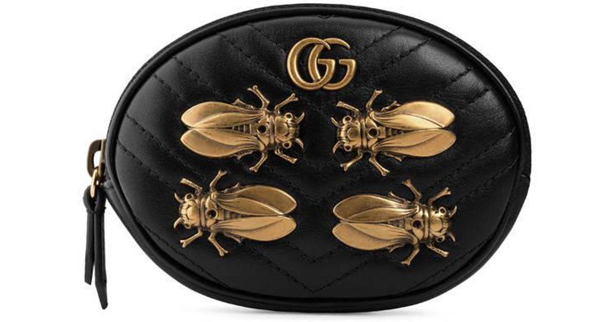 e9f06f214ea8 Gucci Gg Marmont Animal Studs Wrist Pouch in Black - Lyst