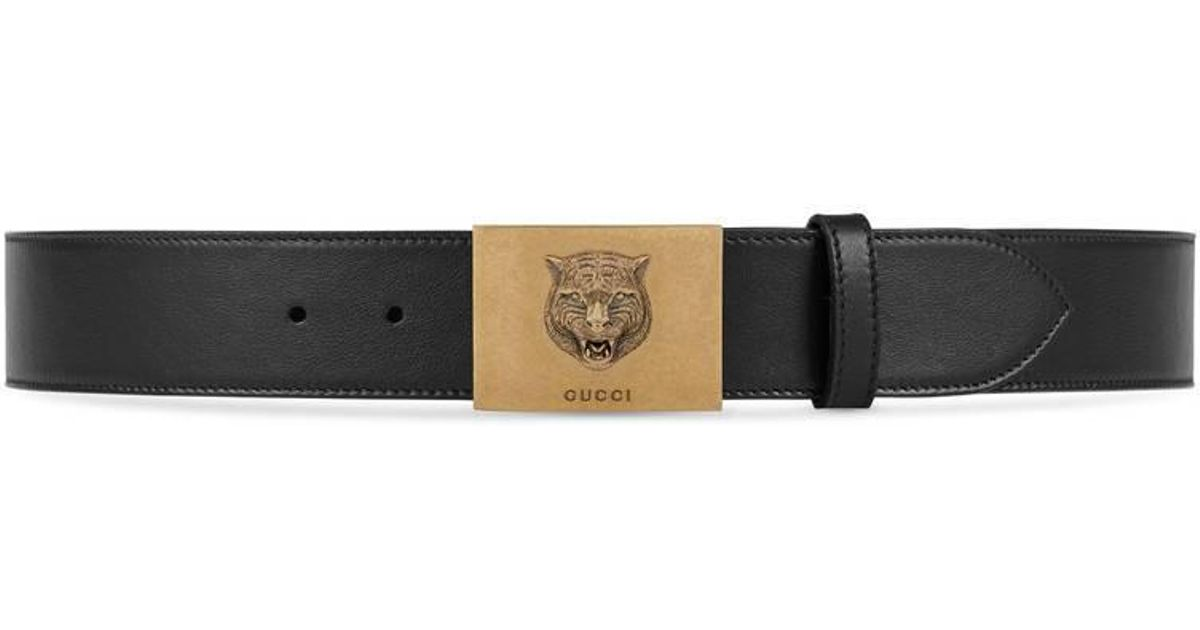e751dad1dd7 Lyst - Gucci Leather Belt With Feline Buckle in Black for Men