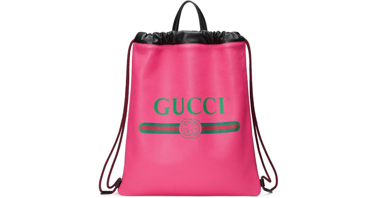 3648b0b9864d Gucci Logo Leather Drawstring Backpack in Pink - Save 25% - Lyst