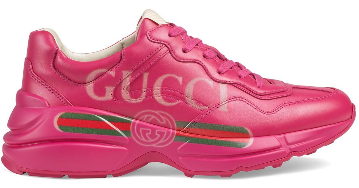 0a1d7fbe525 Lyst - Gucci Rhyton Logo Leather Sneaker in Pink