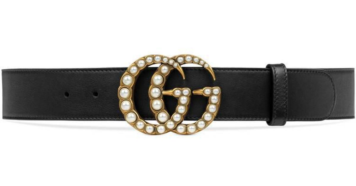 a889ad73334 Lyst - Gucci Leather Belt With Pearl Double G in Black - Save 7%
