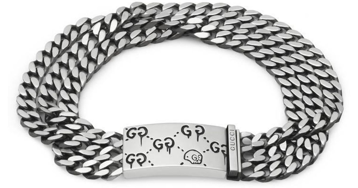 157d910e5 Gucci Ghost Multi Chain Bracelet In Silver in Metallic - Lyst