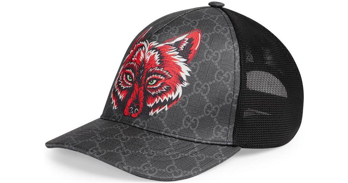 2e1907e49 Gucci - Black GG Supreme Baseball Hat With Wolf for Men - Lyst