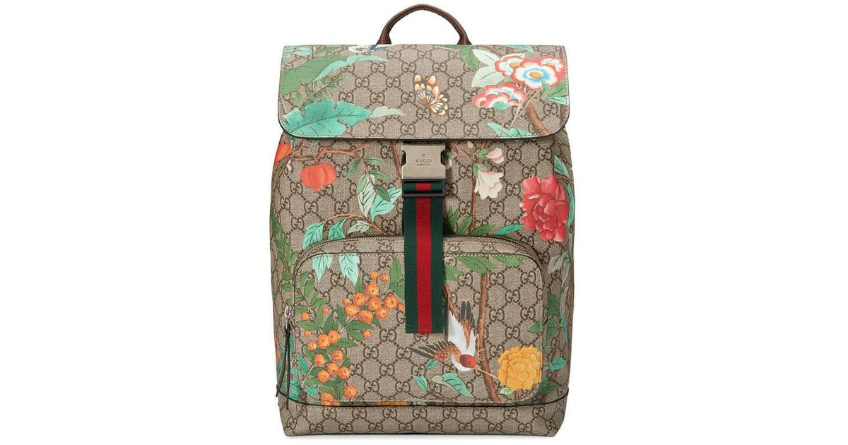 b01db098fb5838 Gucci Tian Gg Supreme Backpack in Natural - Lyst