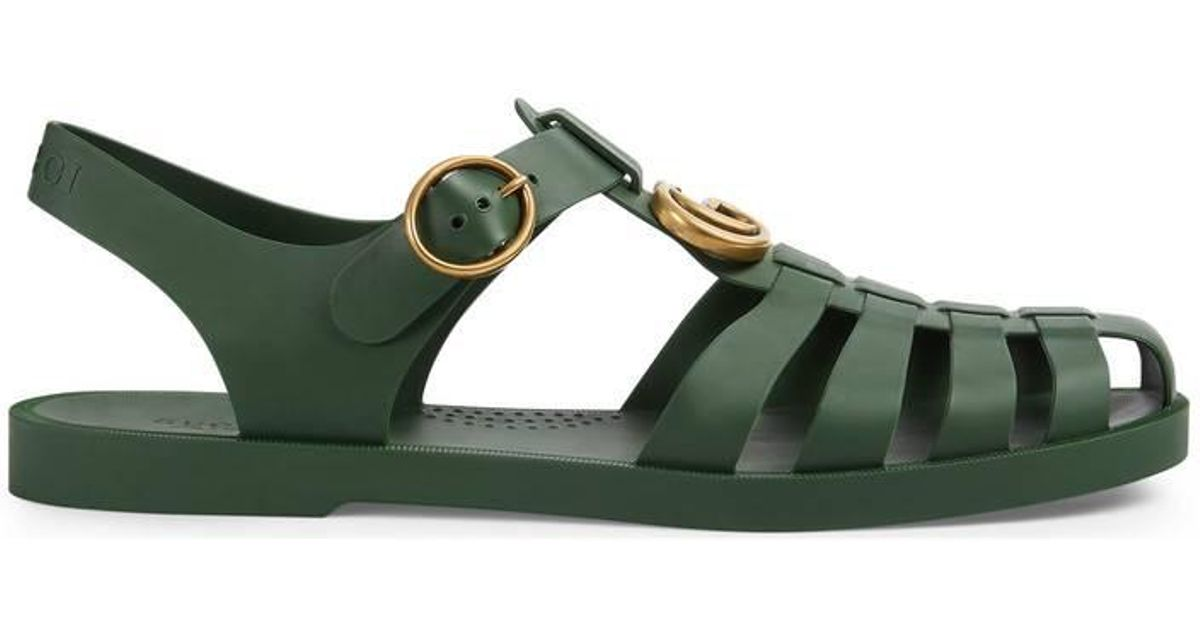 1aca2390b15 Lyst - Gucci Rubber Buckle Strap Sandal in Green for Men