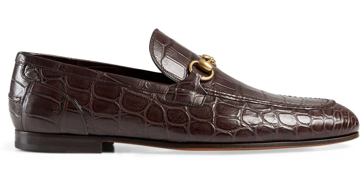 769bd53925f Lyst - Gucci Jordaan Crocodile Loafer in Brown for Men