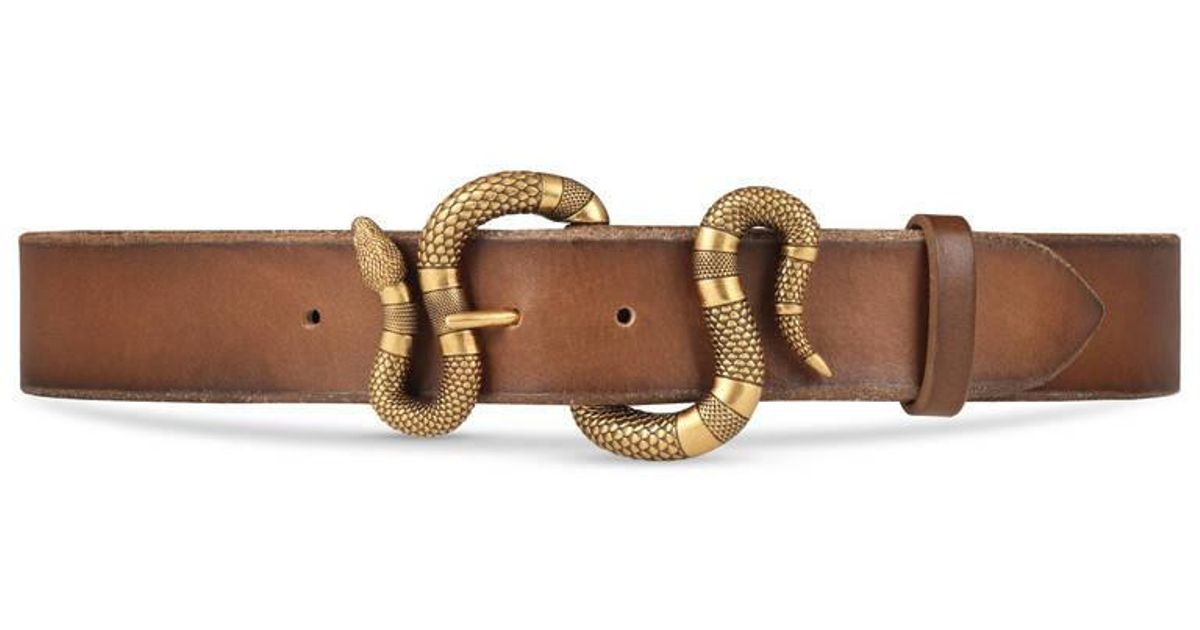 76d469a2e Gucci Leather Belt With Snake Buckle in Brown for Men - Lyst