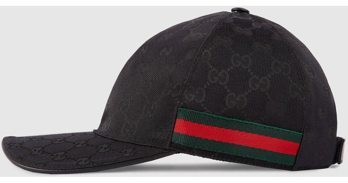 Lyst - Gucci Original Gg Canvas Baseball Hat With Web in Black for Men 6a31f8398270