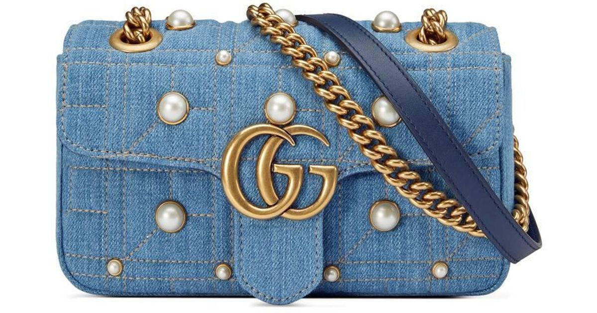 acef5cd80af2a1 Gucci Gg Marmont Matelassé Denim Mini Bag in Blue - Lyst