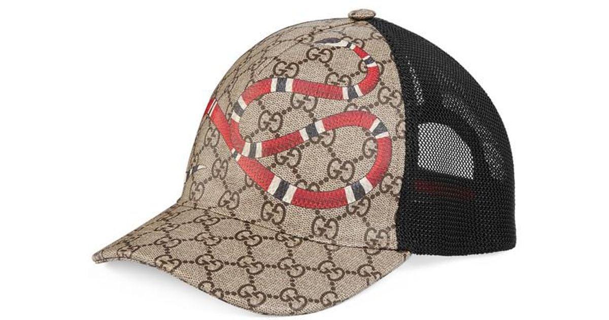 Lyst - Gucci Snake Print Gg Supreme Baseball Hat for Men f2ea6a7c4e3