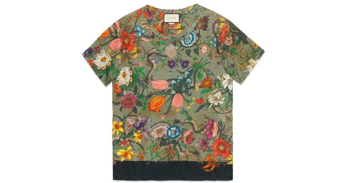9c10afe1 Gucci Flora Snake Print Linen T-shirt in Green - Lyst