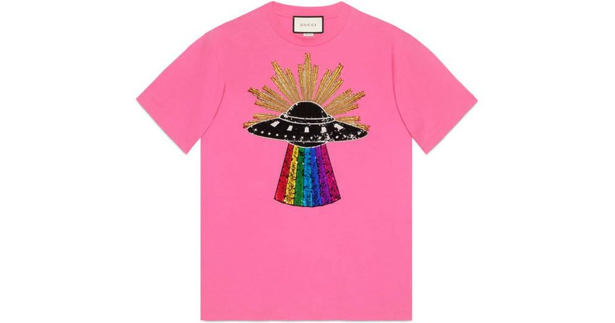 6539cf58940 Lyst - Gucci Sequin Ufo Cotton T-shirt in Pink