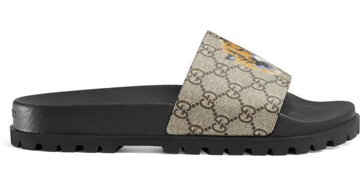 Gucci Natural GG Supreme Tiger Slide Sandal for men