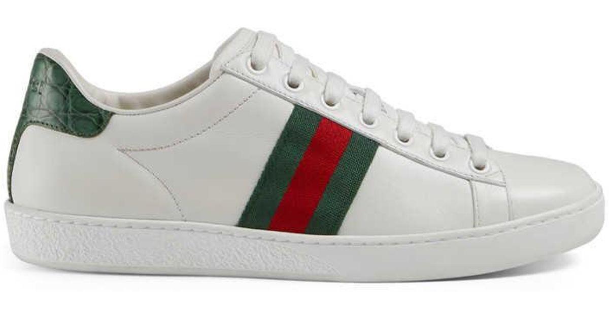 6e11071f5cb Lyst - Gucci Ace Leather Sneaker in Gray