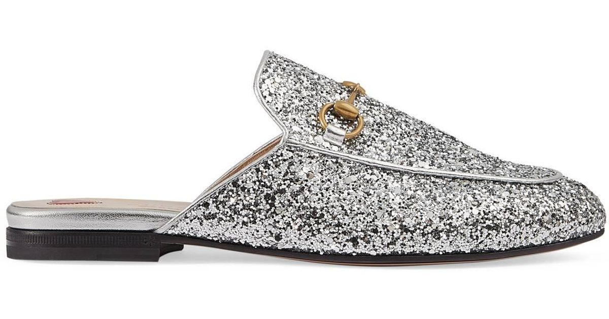 460f7537eb96 Gucci Princetown Glitter Backless Loafer in Metallic - Lyst