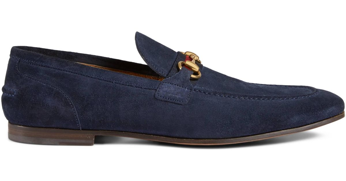 3bc07fae9f4c90 Gucci Horsebit Suede Loafer With Web in Blue for Men - Lyst