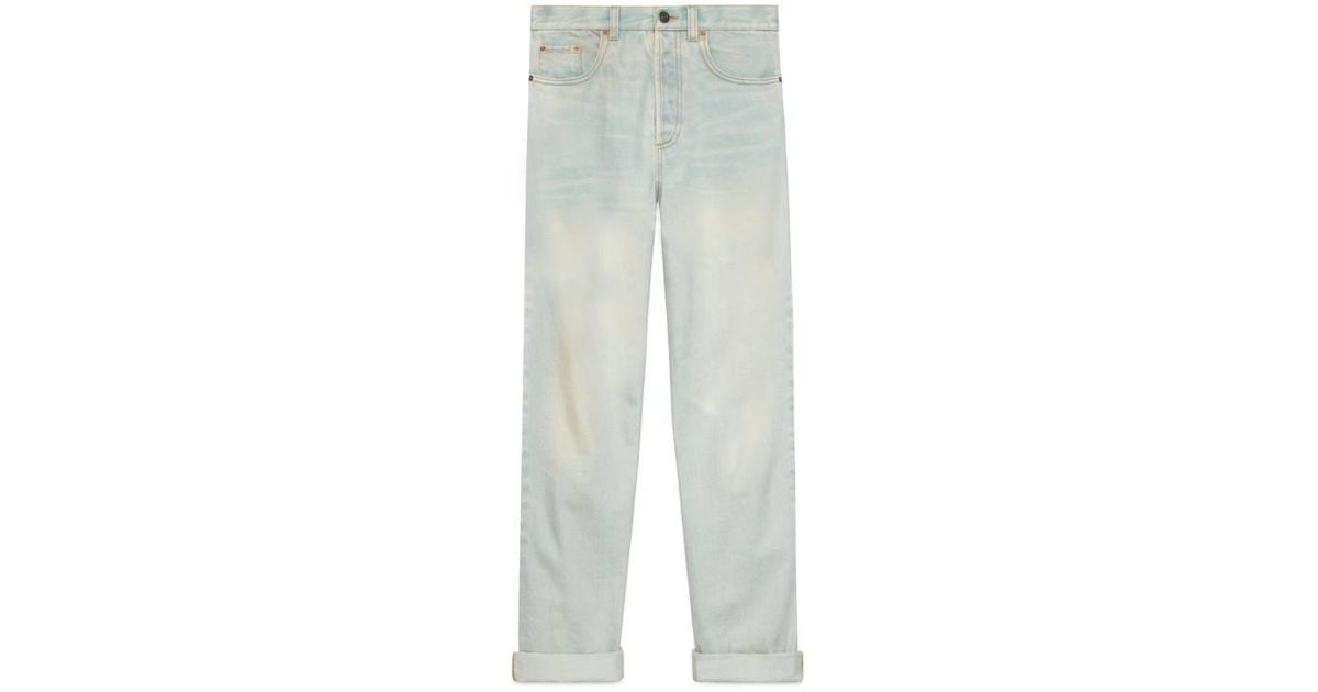 aae6a52f434 Lyst - Gucci 80s Stone Washed Denim Pant in Blue