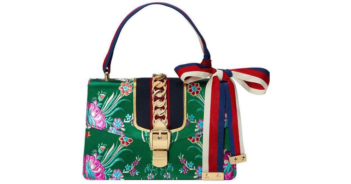 a4390dc609c0 Lyst - Sac porté épaule en jacquard fleuri avec bande Web Sylvie Gucci en  coloris Vert