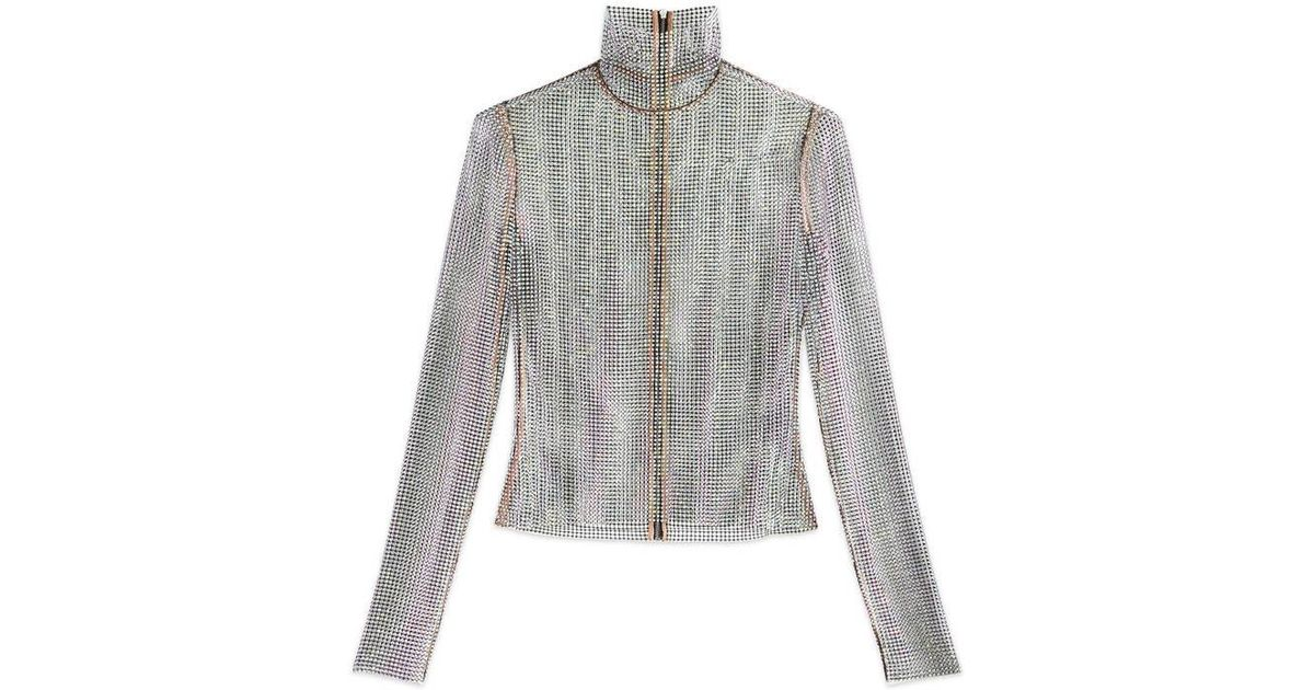 22e0c8293be3c Lyst - Gucci Crystal Net Top in Metallic