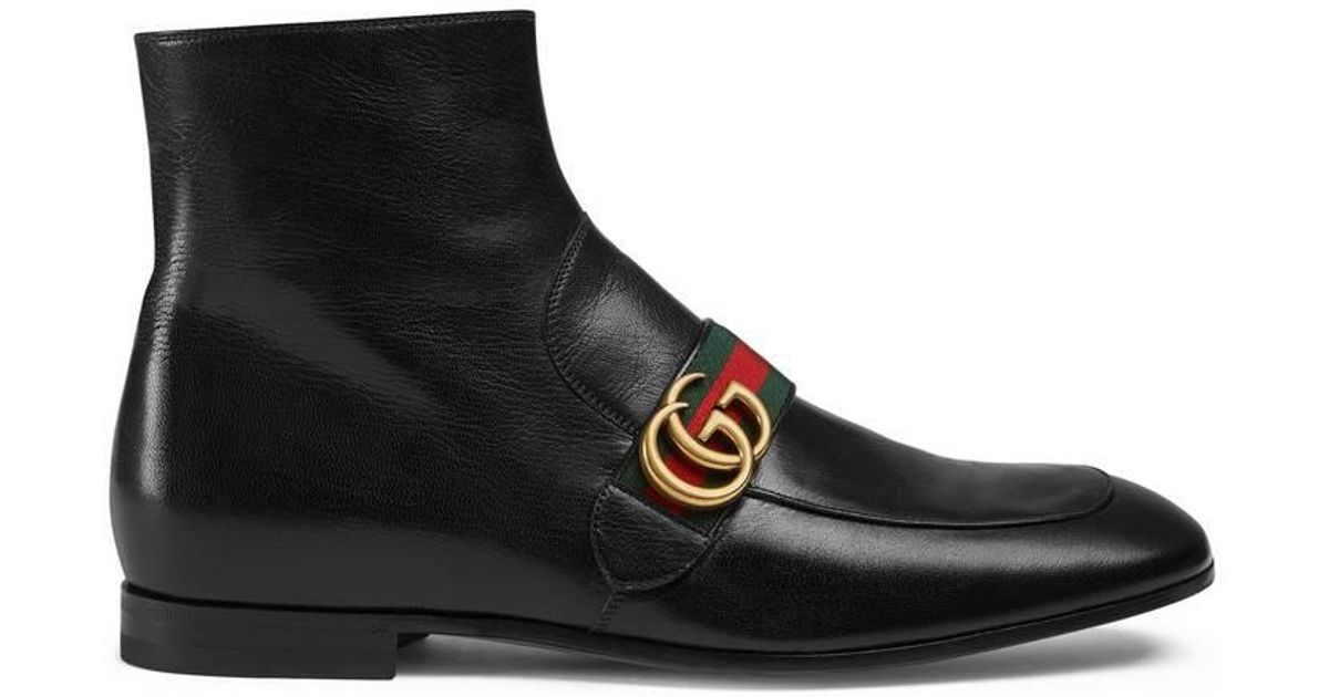 89e91da0f49 Lyst - Gucci Leather Boots With Double G in Black for Men