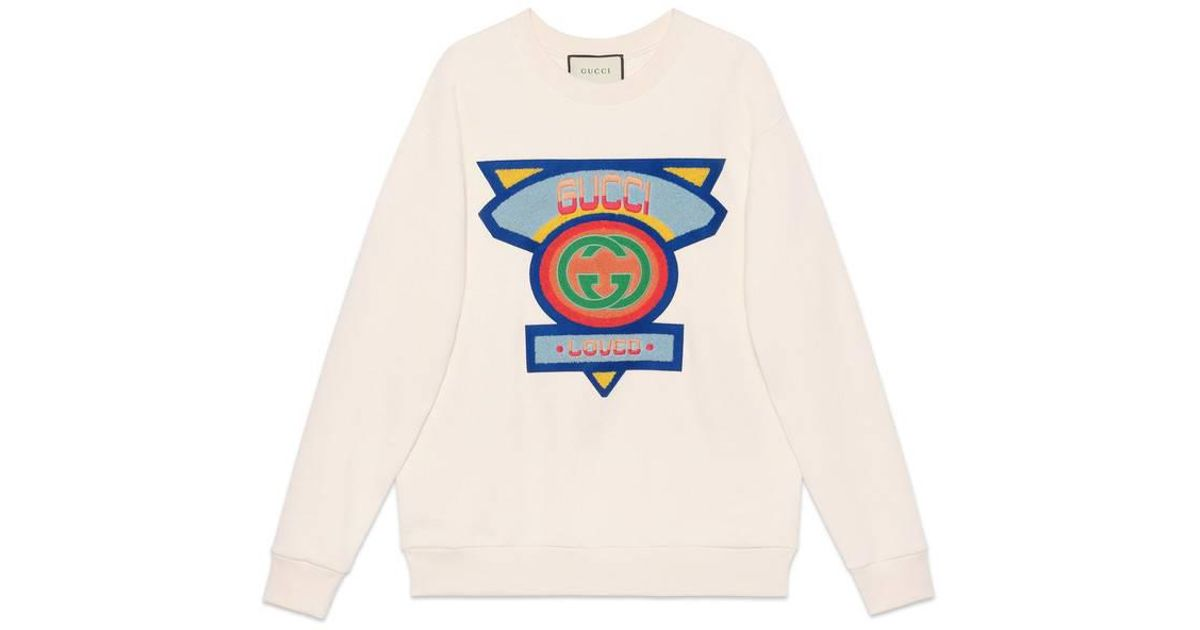 7c612a4d Gucci - White Oversize Sweatshirt With '80s Patch - Lyst