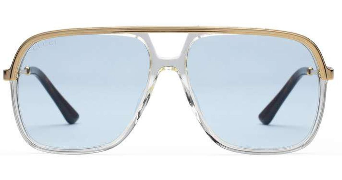 3aac72227a3 Lyst - Gucci Rectangular-frame Metal Sunglasses in Blue for Men