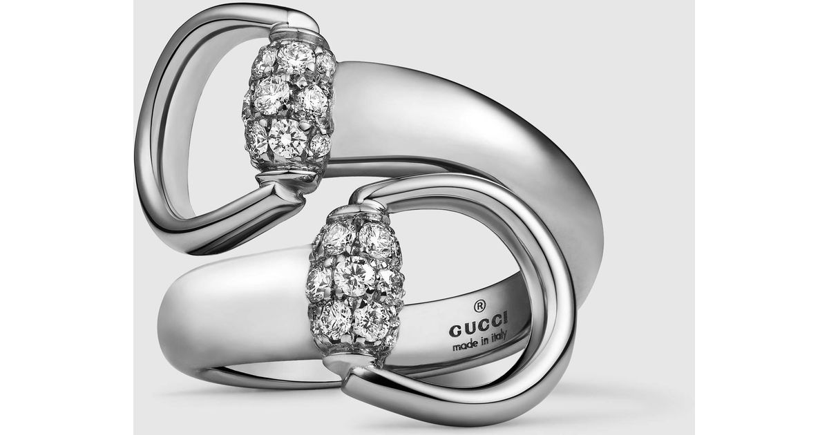 Lyst Gucci White Gold Horsebit Ring in Metallic