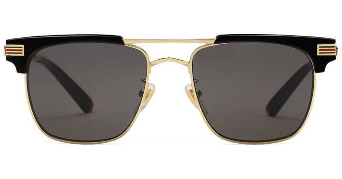 5a9c740a0df Lyst - Gucci Square-frame Metal Sunglasses in Black