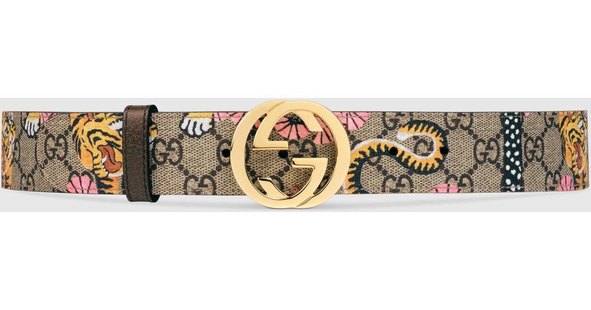 2f0a2b01353 Gucci Bengal Gg Supreme Belt in Metallic - Lyst