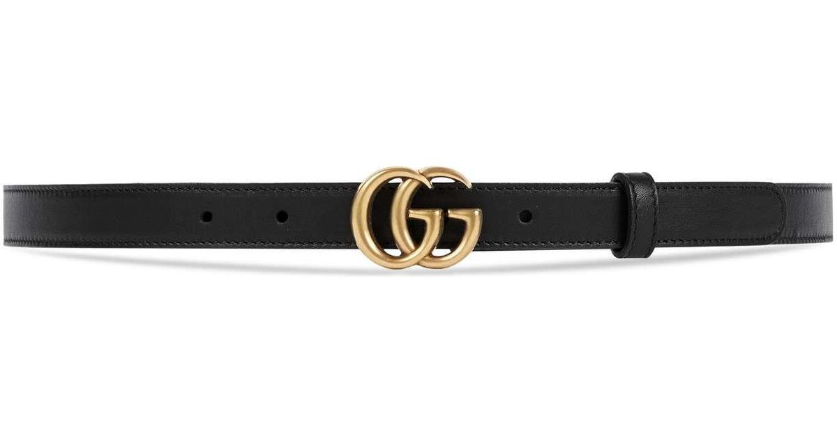 594892d4fc2 Lyst - Gucci Leather Belt With Double G Buckle in Black - Save 6%