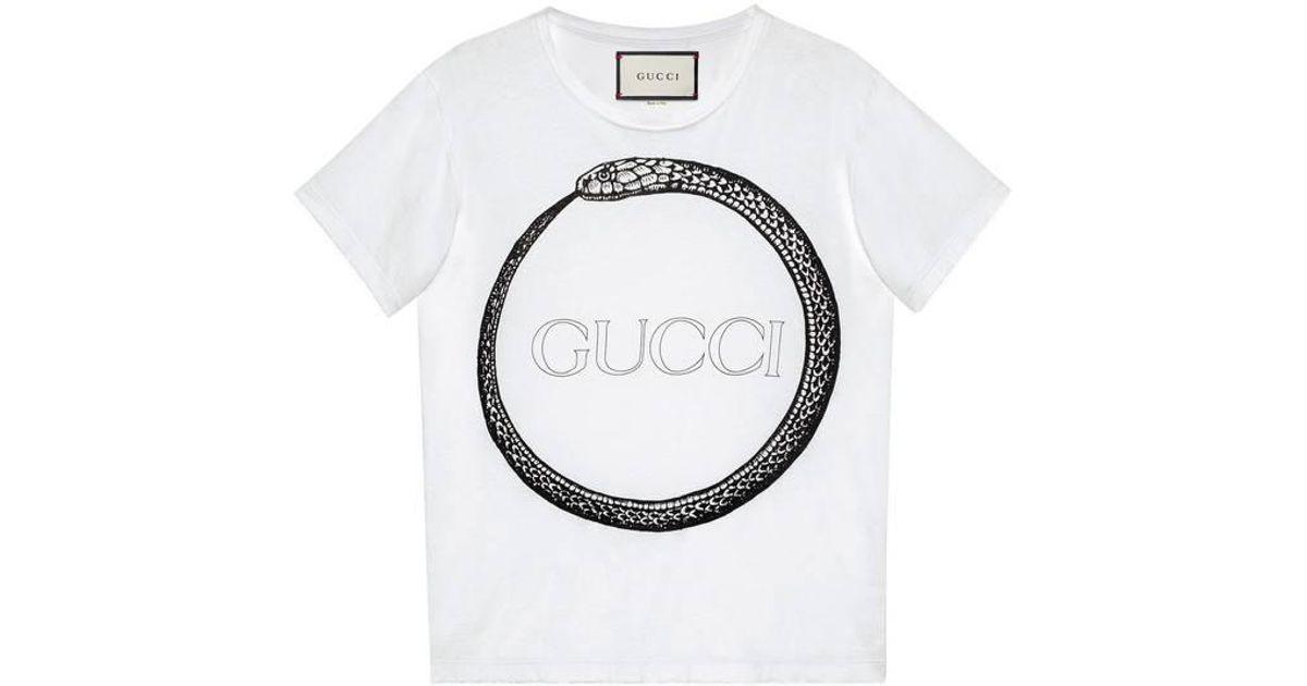 e928d9b04ff0 Gucci Ouroboros Print T-shirt in White for Men - Lyst