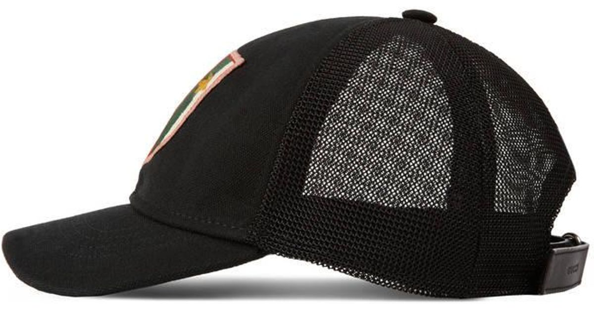 Gucci Canvas Hat With Web Crest And Bees in Black for Men - Lyst dacd02bb361c