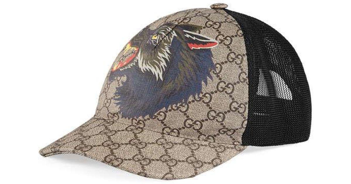 a6e371796242 Lyst - Casquette Suprême GG avec loup Gucci pour homme en coloris Noir