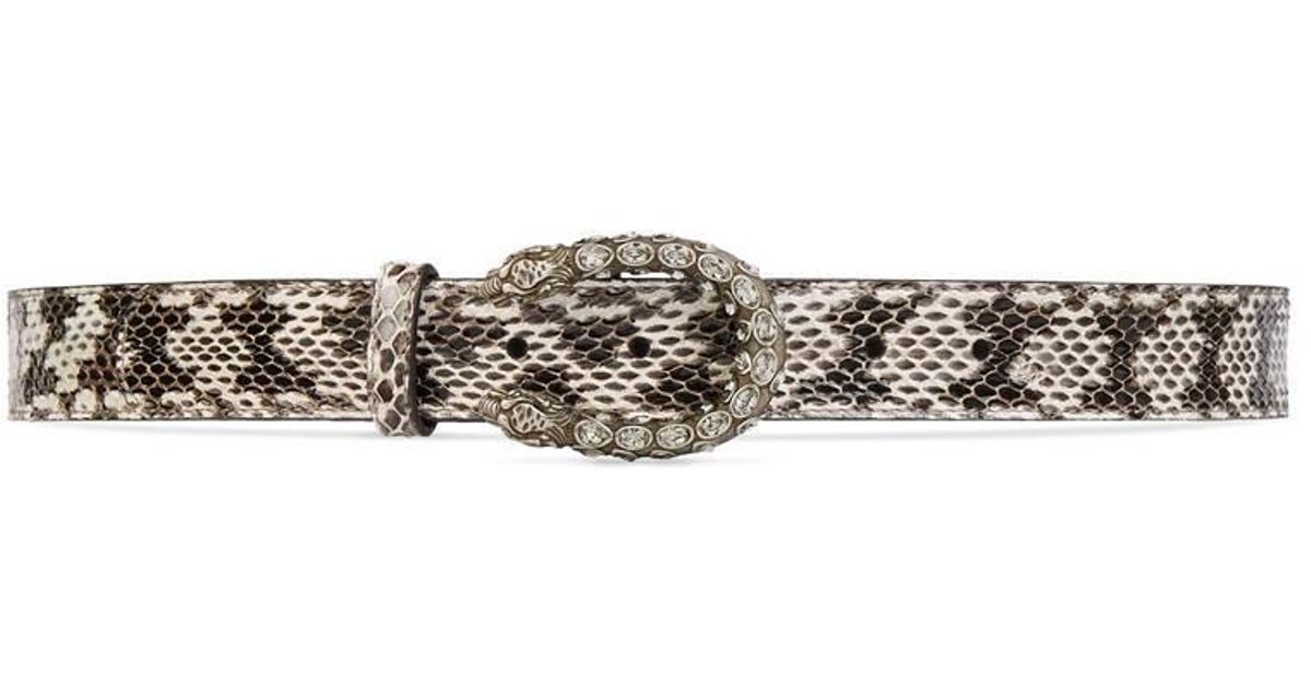 84ef3fe3e Gucci Snakeskin Belt With Crystal Dionysus Buckle in Gray - Lyst