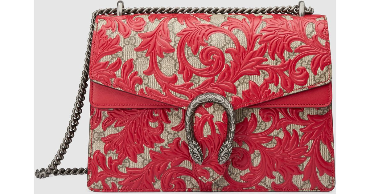 7406f1cba8a4 Gucci Dionysus Arabesque Canvas And Leather Shoulder Bag in Red - Lyst