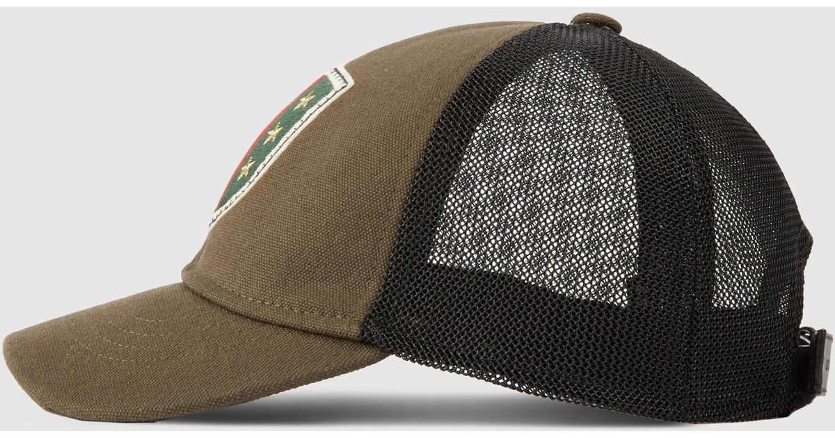 Lyst - Gucci Canvas Hat With Web Crest And Stars in Green for Men 3b95bf4efe8